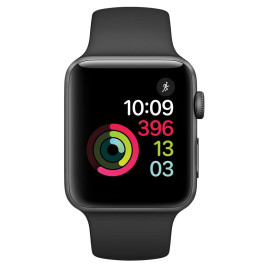 Apple Watch S2 42mm Space Gray Aluminum Case with Black Sport Band