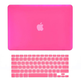 "TopCase 2-in-1 Rubberized Hard Case Cover and Keyboard Cover - Macbook White Unibody 13"" with TopCase Mouse Pad - Hot Pink"