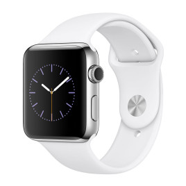 Apple Watch S2 42mm Stainless Steel Case with White Sport Band