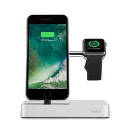 Belkin Valet Charge Dock for Apple Watch + iPhone - Silver
