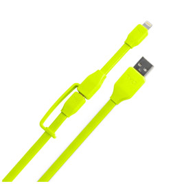 Tylt SynCable-Duo 3.3' Charge and Sync with Lightning & Micro USB Connector - Green