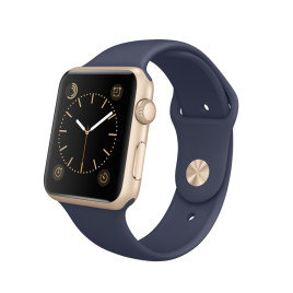 Apple Watch Sport 42mm Case Gold Aluminum Sport Band Midnight Blue